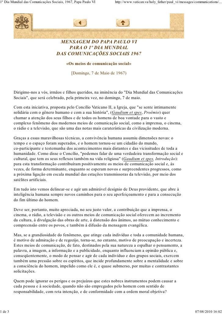 Mensagem 1º dia das comunicações - Paulo VI