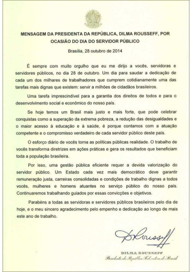 Mensagem da presidenta Dilma Rousseff por ocasião do Dia do Servidor Público