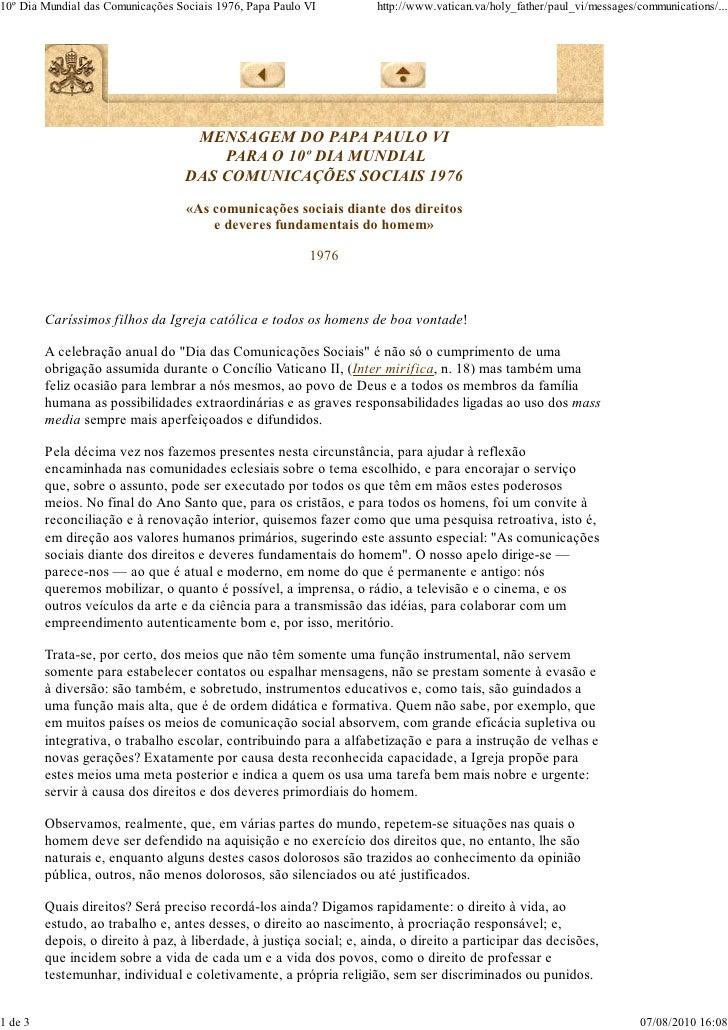 10º Dia Mundial das Comunicações Sociais 1976, Papa Paulo VI          http://www.vatican.va/holy_father/paul_vi/messages/c...