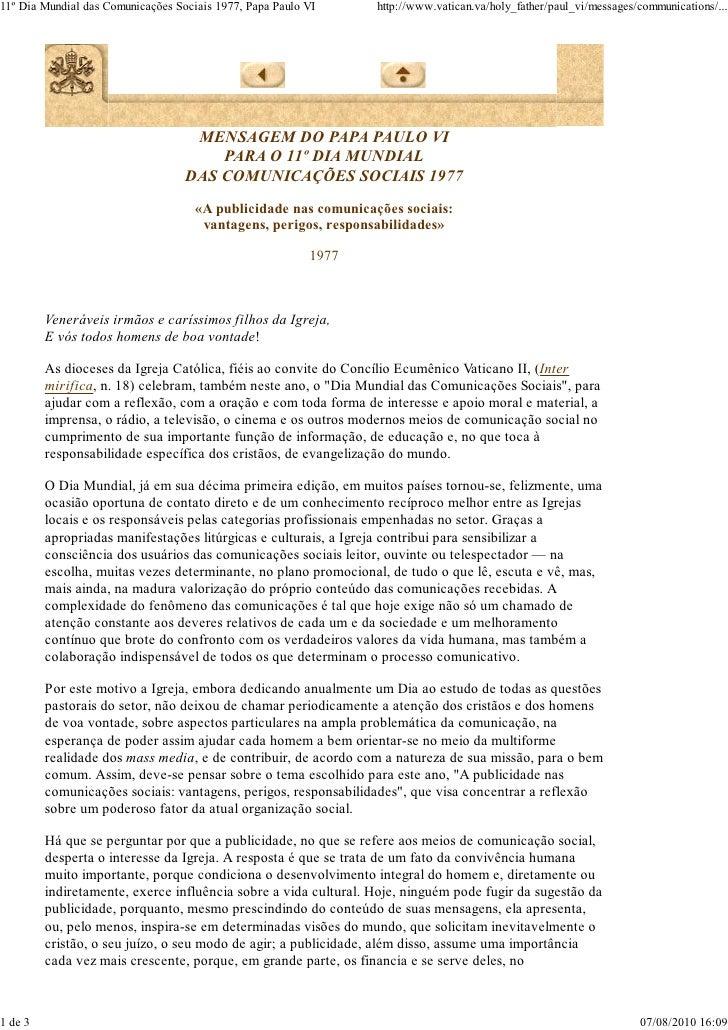 Mensagem 11º dia das comunicações - Paulo VI