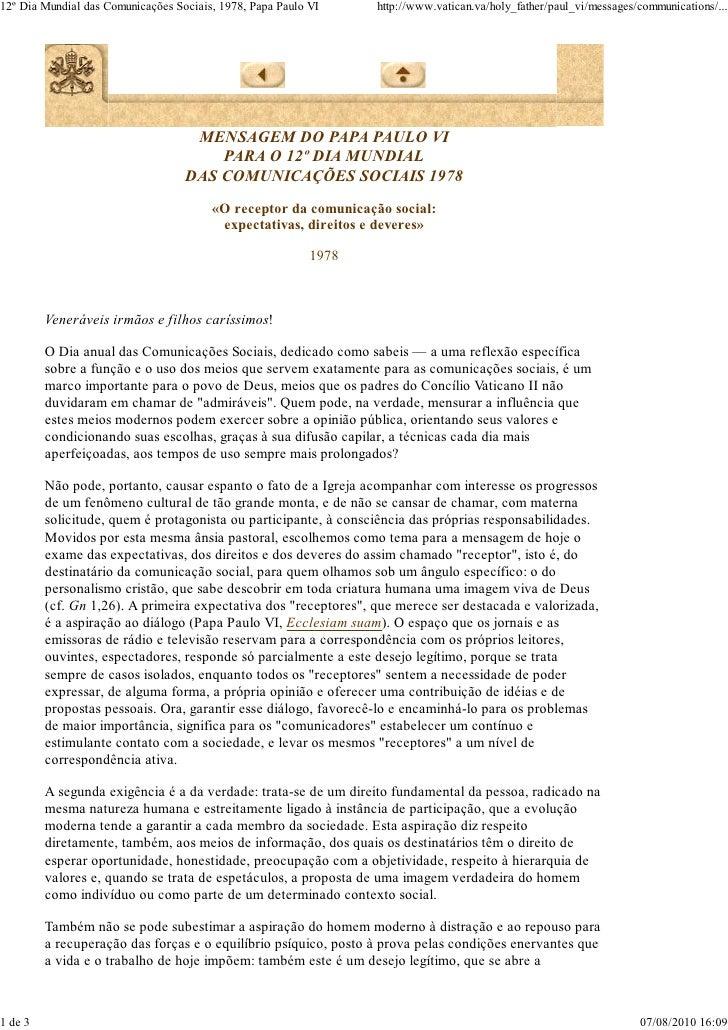 Mensagem 12º dia das comunicações - Paulo VI