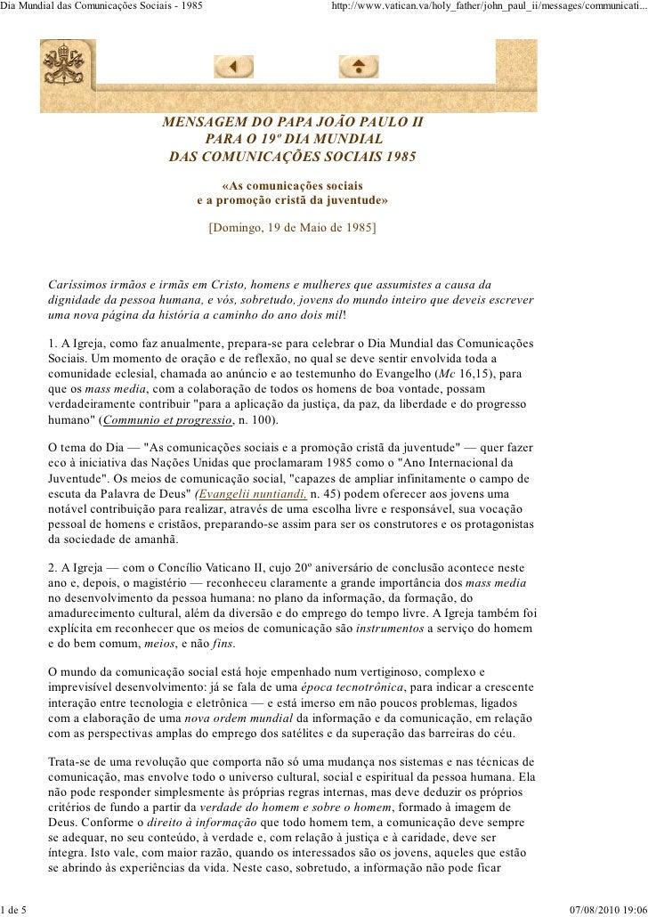 Mensagem 19º dia das comunicações - João Paulo II
