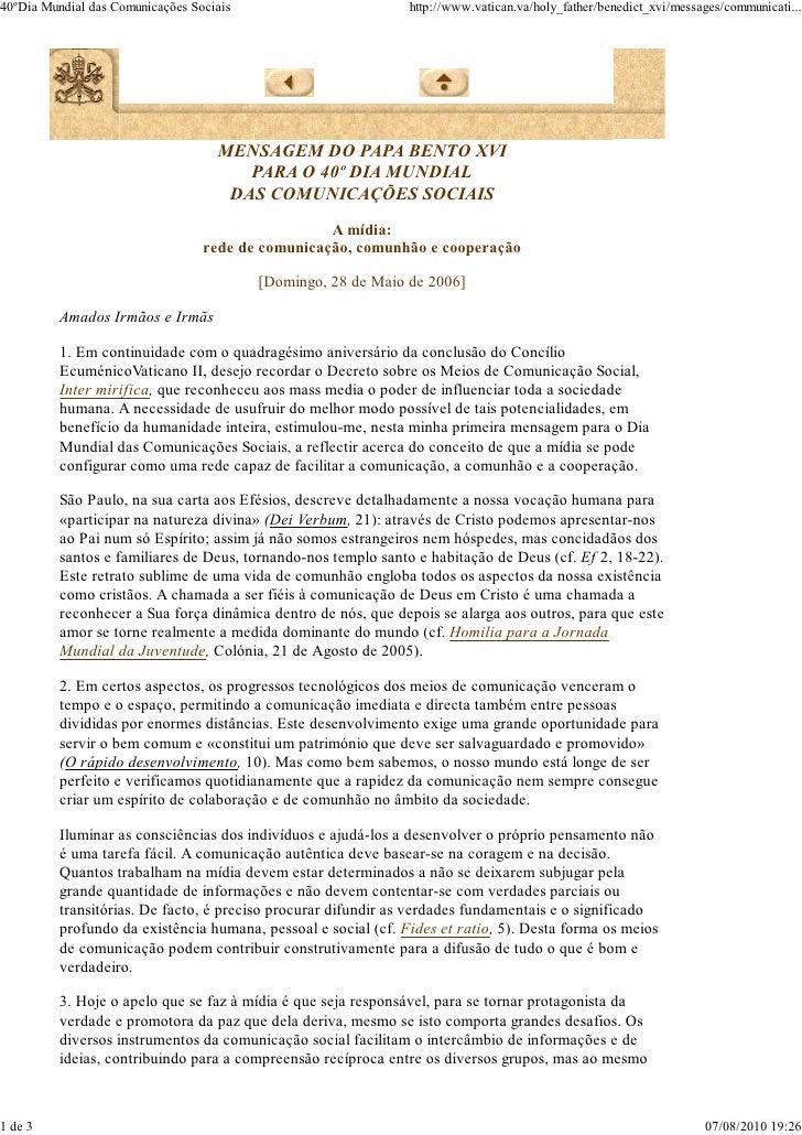 Mensagem 40º dia das comunicações - Bento XVI