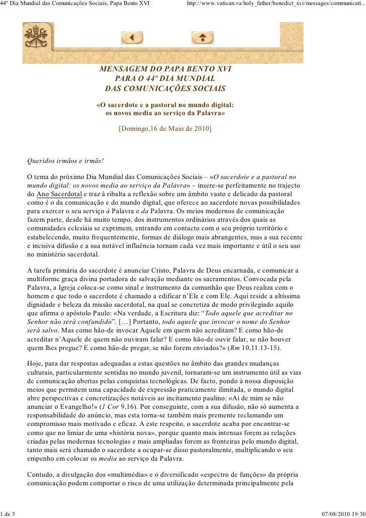 Mensagem 44º dia das comunicações - Bento XVI