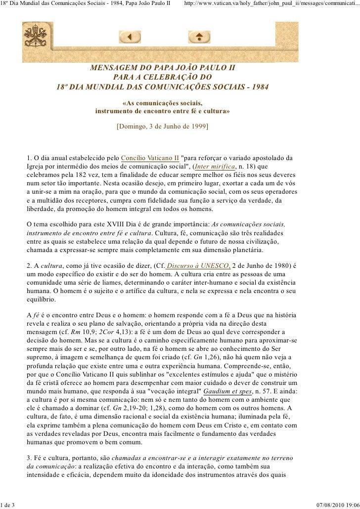Mensagem 18º dia das comunicações - João Paulo II