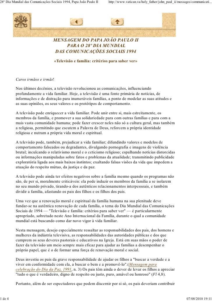 Mensagem 28º dia das comunicações - João Paulo II