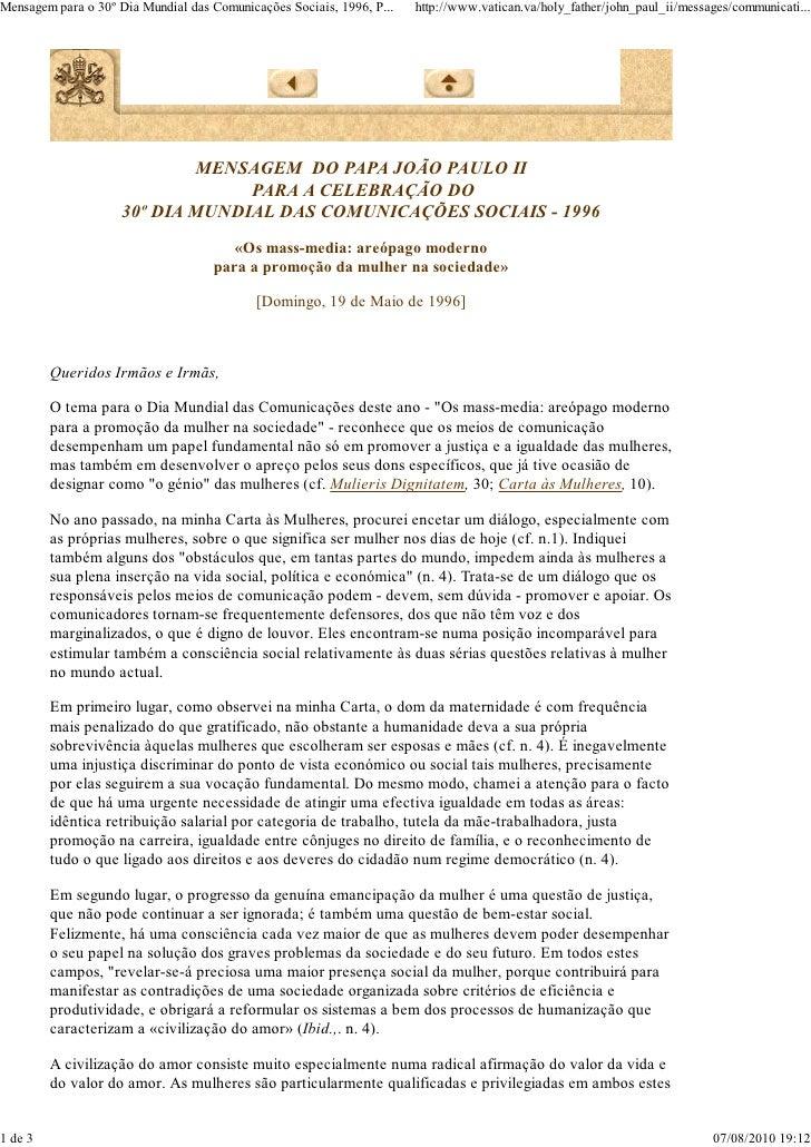 Mensagem 30º dia das comunicações - João Paulo II