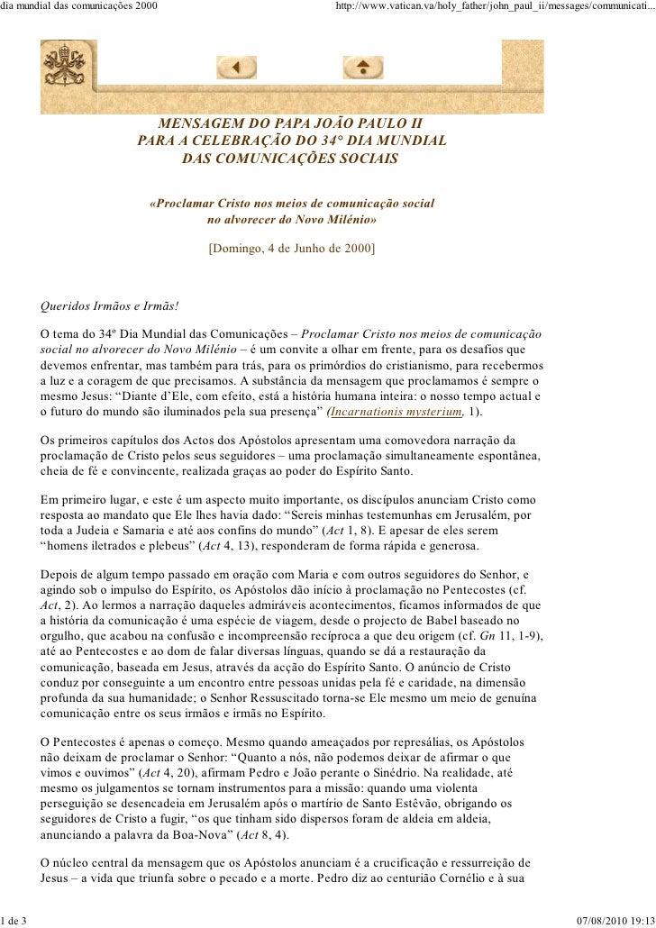 Mensagem 34º dia das comunicações - João Paulo II