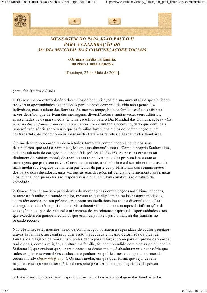 Mensagem 38º dia das comunicações - João Paulo II