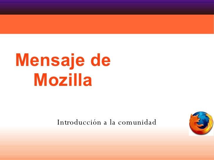 Mensaje de Mozilla Introducción a la comunidad