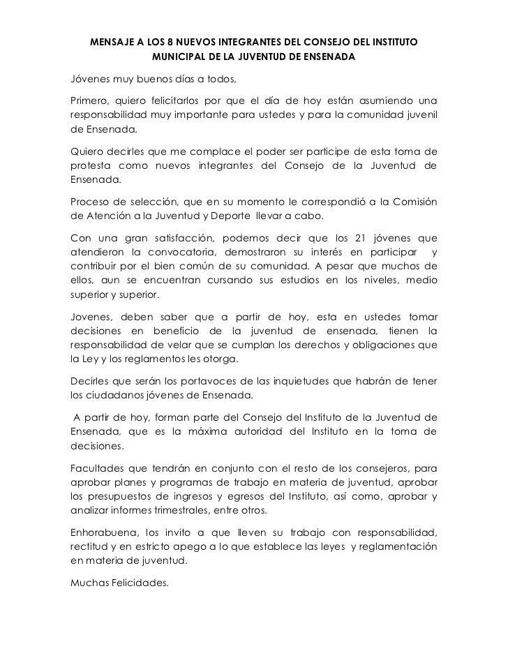 MENSAJE A LOS 8 NUEVOS INTEGRANTES DEL CONSEJO DEL INSTITUTO              MUNICIPAL DE LA JUVENTUD DE ENSENADAJóvenes muy ...