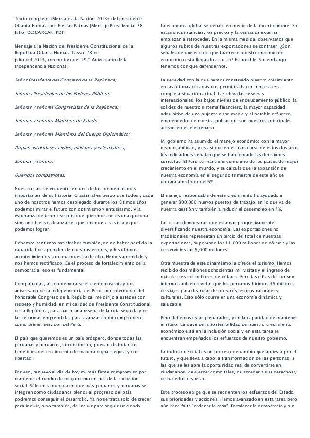 Texto completo «Mensaje a la Nación 2013» del presidente Ollanta Humala por Fiestas Patrias [Mensaje Presidencial 28 Julio...