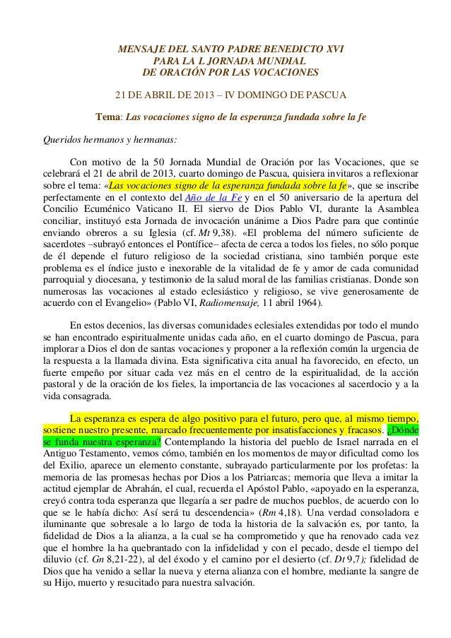 MENSAJE DEL SANTO PADRE BENEDICTO XVI                       PARA LA L JORNADA MUNDIAL                     DE ORACIÓN POR L...