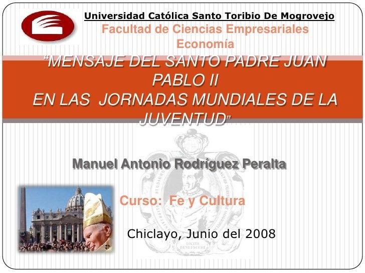 """Universidad Católica Santo Toribio De Mogrovejo         Facultad de Ciencias Empresariales                     Economía  """"..."""