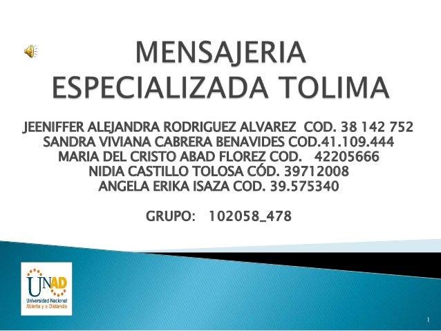JEENIFFER ALEJANDRA RODRIGUEZ ALVAREZ COD. 38 142 752   SANDRA VIVIANA CABRERA BENAVIDES COD.41.109.444     MARIA DEL CRIS...