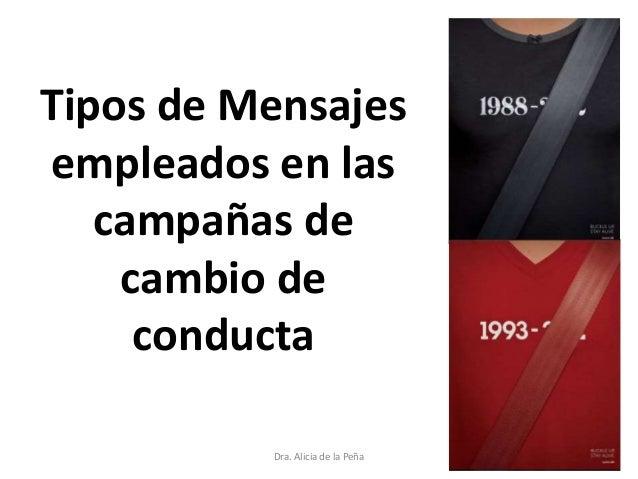Tipos de Mensajes empleados en las campañas de cambio de conducta Dra. Alicia de la Peña