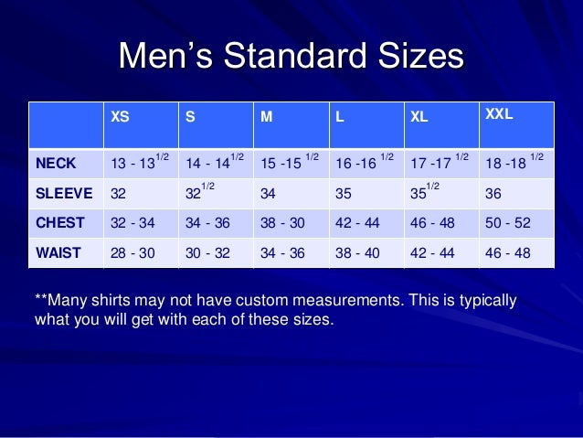 Men's Dress Sizing Guide