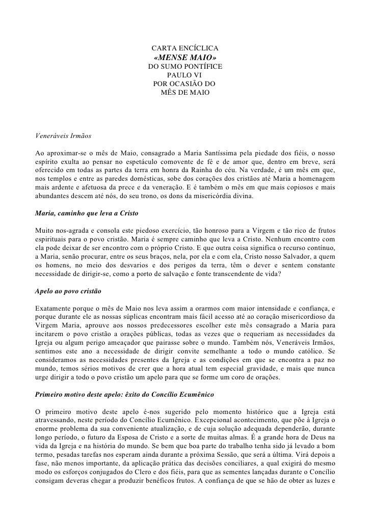 CARTA ENCÍCLICA                                       «MENSE MAIO»                                     DO SUMO PONTÍFICE  ...