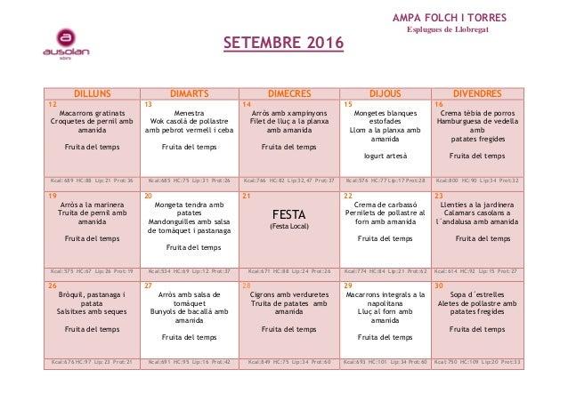 AMPA FOLCH I TORRES Esplugues de Llobregat SETEMBRE 2016 DILLUNS DIMARTS DIMECRES DIJOUS DIVENDRES 12 Macarrons gratinats ...