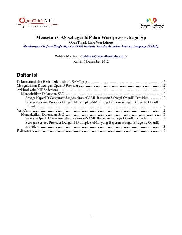 Mensetup CAS sebagai IdP dan Wordpress sebagai Sp                                                       OpenThink Labs Wor...