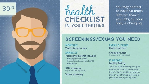 men s health screening through the ages