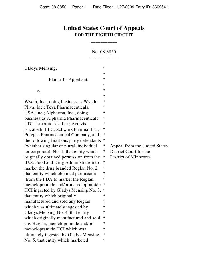 Case: 08-3850    Page: 1      Date Filed: 11/27/2009 Entry ID: 3609541                          United States Court of App...