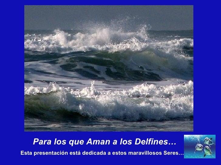 Para los que Aman a los Delfines… Esta presentación está dedicada a estos maravillosos Seres…