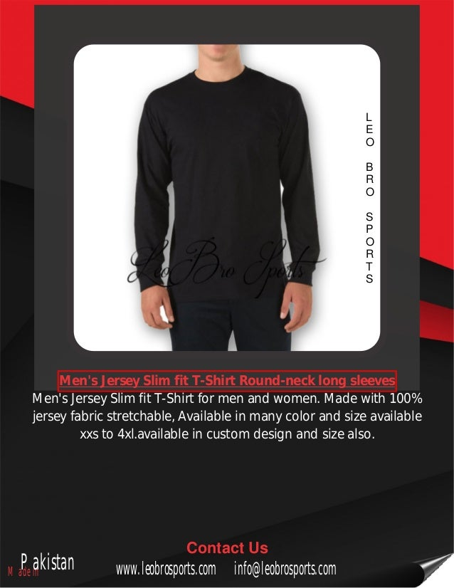 cd557bf43 Men's jersey slim fit t shirt round-neck long sleeves
