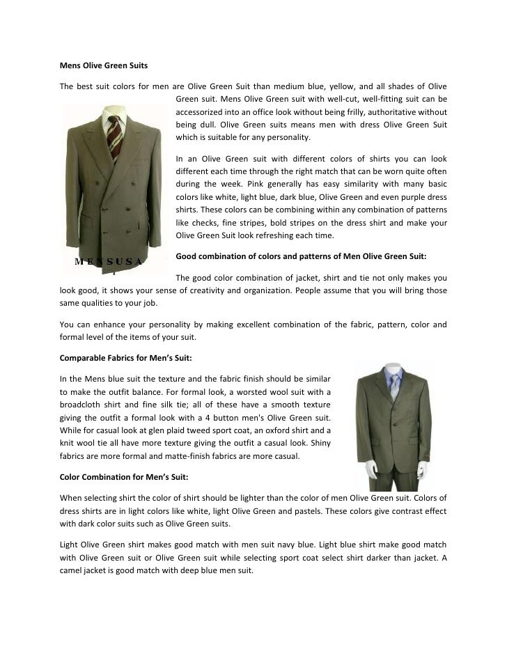 Mens Olive Green Suits