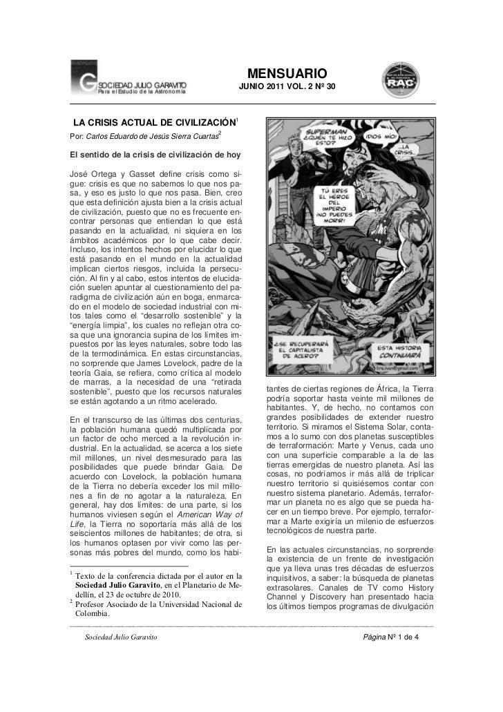 MENSUARIO                                                   JUNIO 2011 VOL. 2 Nº 30    LA CRISIS ACTUAL DE CIVILIZACIÓN1  ...