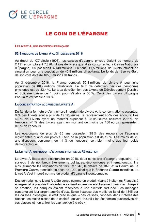 Mensuel Du Cercle De L Epargne N 40 Aout 2017