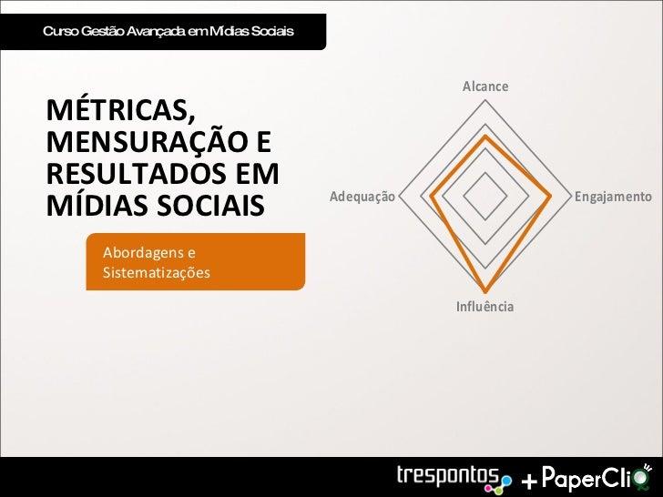 Curso Gestão Avançada em Mídias Sociais MÉTRICAS, MENSURAÇÃO E RESULTADOS EM MÍDIAS SOCIAIS Abordagens e Sistematizações +