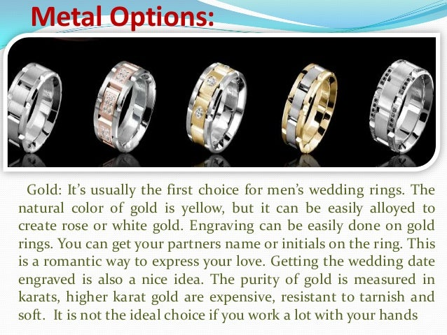 Mens wedding ring metal options