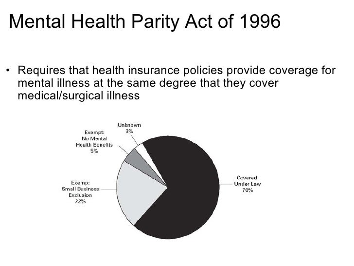 mental health parity act of 1996 Mental health parity's limited impact on utilization and access for health plan beneficiaries visits that were allowed, leading to frag-mented care, poor outcomes, and unsatisfy- ing patient experiences3,4 in response, some states passed laws requiring health insurers to reduce the inequality between mental and physical health care.