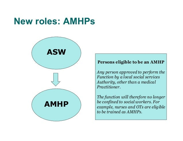 New roles: AMHPs      ASW                   Persons eligible to be an AMHP                   Any person approved to perfor...