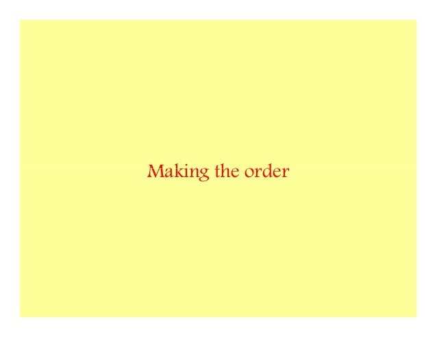Making the order