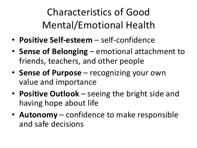 good mental and emotional health