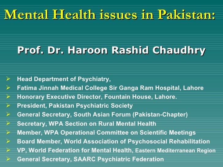 Mental health in Pakistan