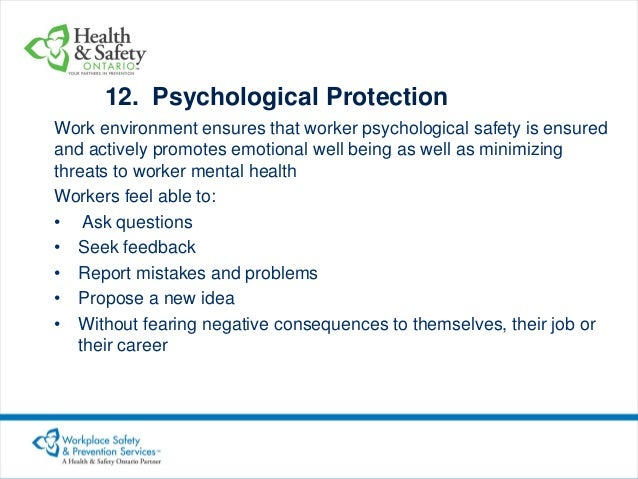 psychological health and safety in the workplace