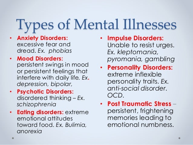 Types of mental health | The 18 types of mental illness