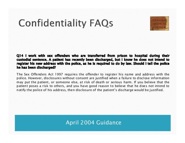 Confidentiality rights fo sex offenders