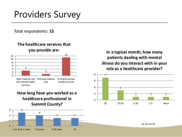 Providers Survey 3 1 11 0 2 4 6 8 10 12 Both medical care and mental health services Primarily medical care Primarily ment...
