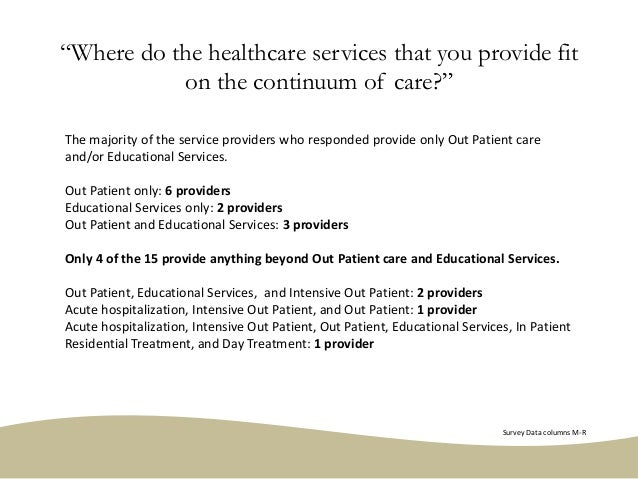 """""""Where do the healthcare services that you provide fit on the continuum of care?"""" The majority of the service providers wh..."""