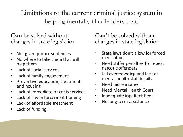Limitations to the current criminal justice system in helping mentally ill offenders that: Can be solved without changes i...