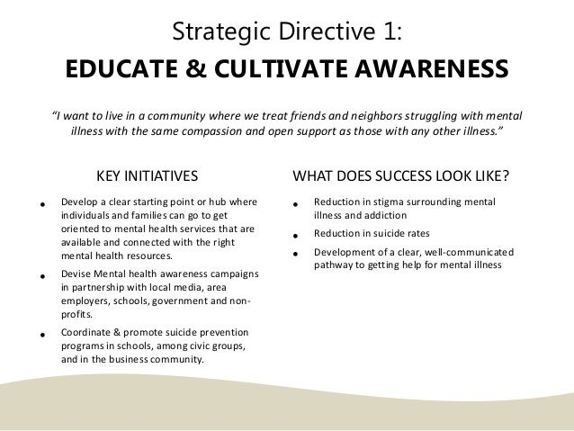 """Strategic Directive 1: EDUCATE & CULTIVATE AWARENESS """"I want to live in a community where we treat friends and neighbors s..."""