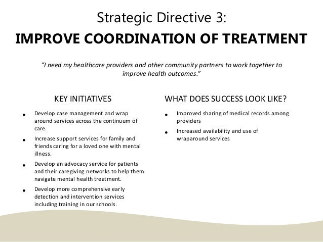 """Strategic Directive 3: IMPROVE COORDINATION OF TREATMENT """"I need my healthcare providers and other community partners to w..."""