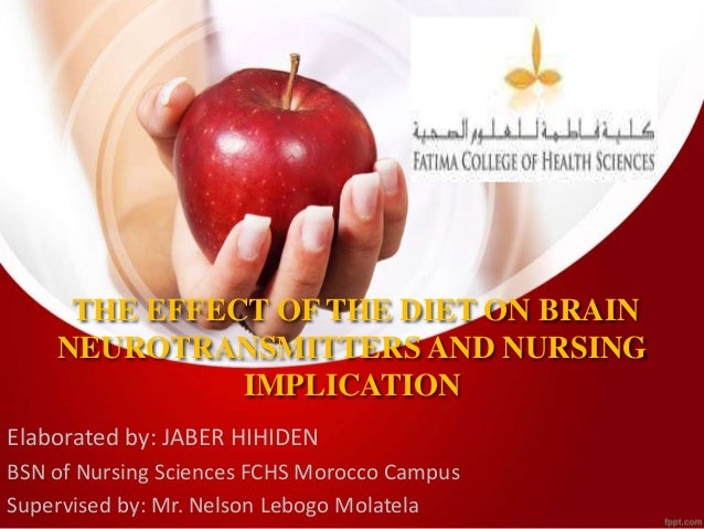 THE EFFECT OF THE DIET ON BRAIN NEUROTRANSMITTERS AND NURSING IMPLICATION Elaborated by: JABER HIHIDEN BSN of Nursing Scie...