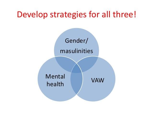Develop strategies for all three! Gender/ masulinities VAW Mental health