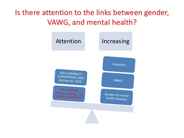 Is there attention to the links between gender, VAWG, and mental health? Attention Increasing