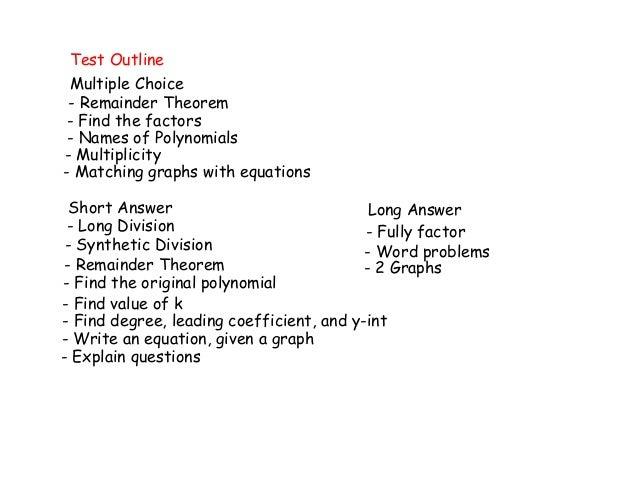 Mental math test outline